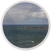 Warning For Sailors. Round Beach Towel