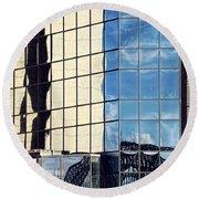 Warped Harbour Bridge Reflection By Kaye Menner Round Beach Towel