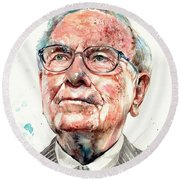 Warren Buffett Portrait Round Beach Towel