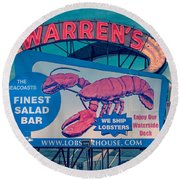 Warrens Lobster House Neon Sign Kittery Maine Round Beach Towel