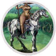 Warrior Maiden Round Beach Towel