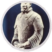 Warrior Of The Terracotta Army Round Beach Towel