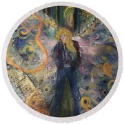 Warrior Woman Lean In Round Beach Towel