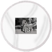 Warsaw Ghetto Uprising Number 1 1943 Color Added 2016 Round Beach Towel