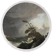 Warships In A Heavy Storm Round Beach Towel