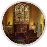 Warwick Castle Chapel Round Beach Towel by Chris Lord