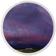 Wasatch Mountain Sunset Round Beach Towel by La Rae  Roberts
