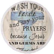 Wash Your Hands Round Beach Towel