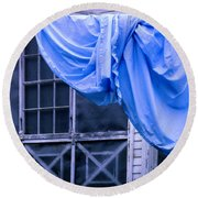 Washday On A Country Porch Round Beach Towel