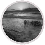 Washed Up Crab Cage 16x9 Bw Round Beach Towel