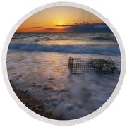 Washed Up Crab Cage 16x9 Round Beach Towel