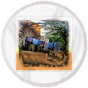 Washing Line And Cows Indian Village Rajasthani 1b Round Beach Towel