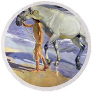 Washing The Horse Round Beach Towel by Joaquin Sorolla y Bastida
