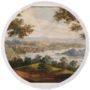 Washington And Georgetown From The Alexandria Road Round Beach Towel