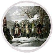 Washington And His Generals  Round Beach Towel