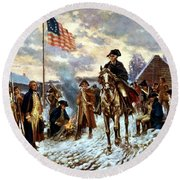 Washington At Valley Forge Round Beach Towel