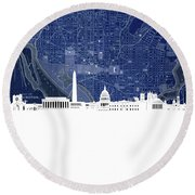 Washington Dc Skyline Map 4 Round Beach Towel