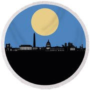 Washington Dc Skyline Minimalism 4 Round Beach Towel