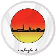 Washington Dc Skyline Minimalism 9 Round Beach Towel