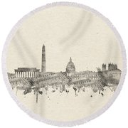 Washington Dc Skyline Music Notes 2 Round Beach Towel