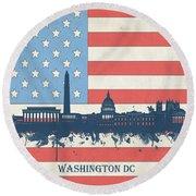 Washington Dc Skyline Usa Flag 3 Round Beach Towel