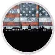 Washington Dc Skyline Usa Flag Round Beach Towel