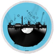 Washington Dc Skyline Vinyl 2 Round Beach Towel