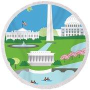Washington, D.c. Vertical Skyline Round Beach Towel