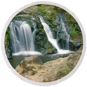 Washington Falls 3 Round Beach Towel