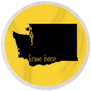 Washington Is Home Base Black Round Beach Towel