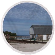 Washington Island Harbor 1 Round Beach Towel