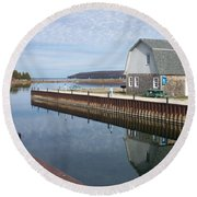 Washington Island Harbor 2 Round Beach Towel