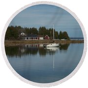 Washington Island Harbor 3 Round Beach Towel