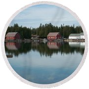 Washington Island Harbor 5 Round Beach Towel
