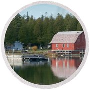Washington Island Harbor 6 Round Beach Towel