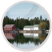 Washington Island Harbor 7 Round Beach Towel
