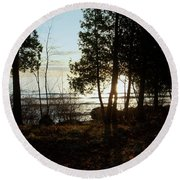 Washington Island Morning 3 Round Beach Towel