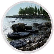 Washington Island Shore 1 Round Beach Towel