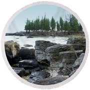 Washington Island Shore 3 Round Beach Towel