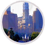 Washington Looking Over To City Hall Round Beach Towel