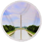 Washington Monument And Reflecting Pool Round Beach Towel