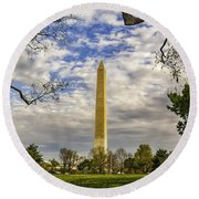 Washington Monument From The Mall Round Beach Towel