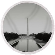 Washington Monument In Washington Dc Round Beach Towel
