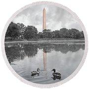 Washington Monument Mallards In Love Round Beach Towel