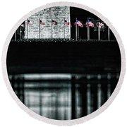 Washington Monument Reflections Round Beach Towel