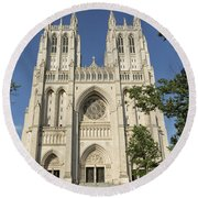 Washington National Cathedral Front Exterior Round Beach Towel