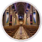 Washington National Cathedral Interior Round Beach Towel