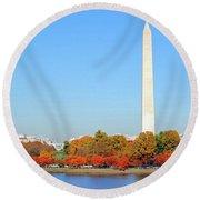 Washington On A Autumn Day Round Beach Towel
