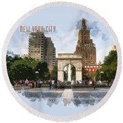 Washington Square Park Greenwich Village With Text New York City Round Beach Towel