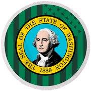 Washington State Flag Graphic Usa Styling Round Beach Towel